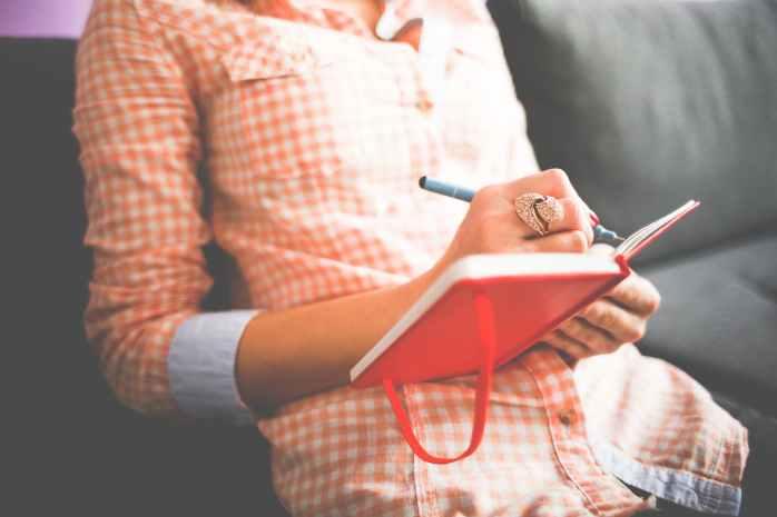 diary girl hand journal